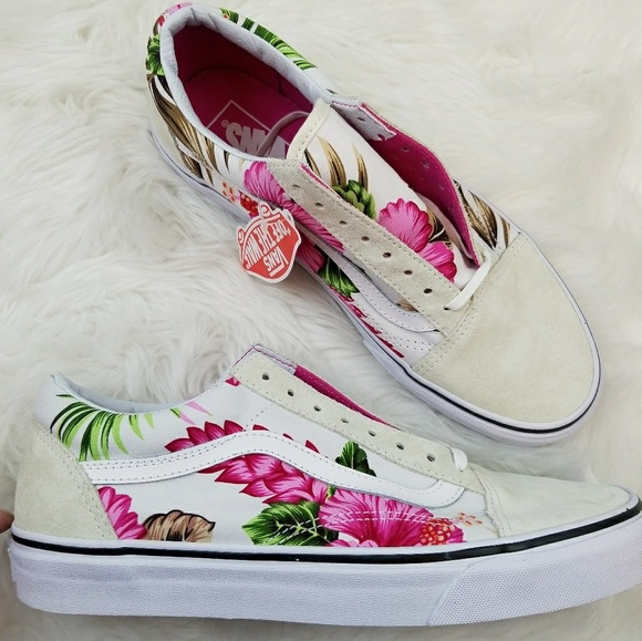 Vans Old Skool Hawaiian Floral White 10 NIB 373e93616